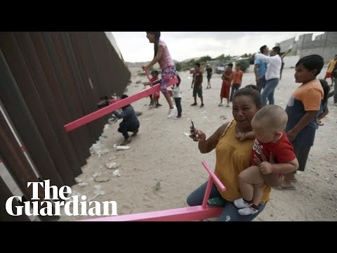 US border wall see-saws allow children on each side to play together