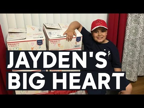 10-year-old Jayden Perez has collected thousands donations for people in need