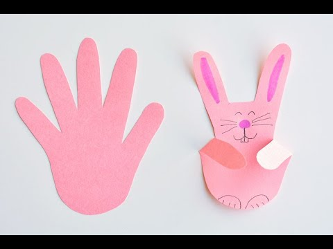 Paper Handprint Bunnies | Easy Easter Craft Using Construction Paper